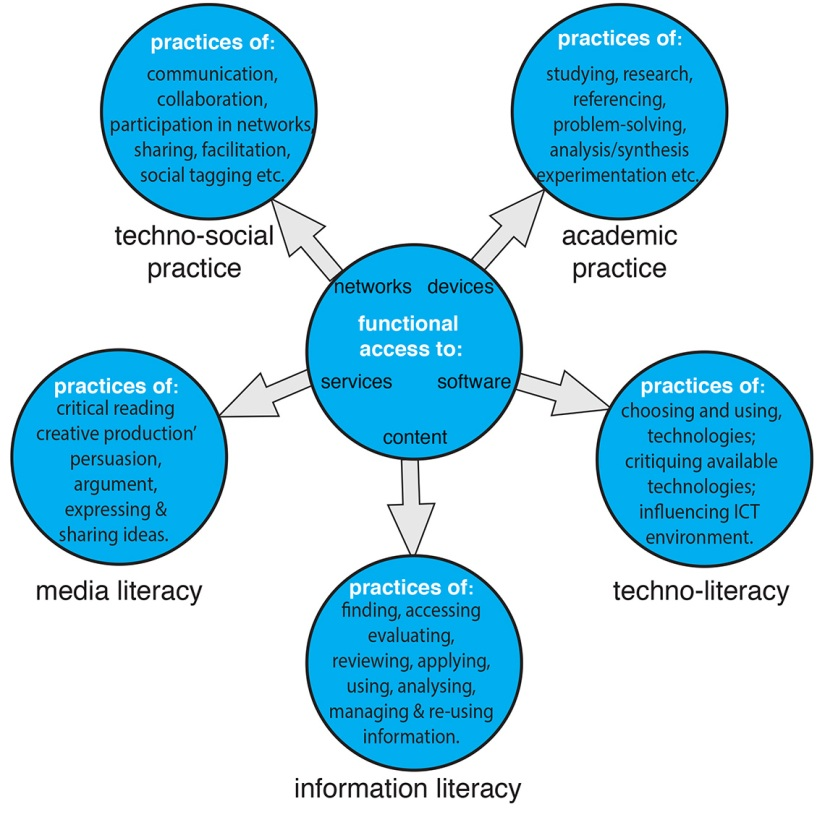 Digital literacy anatomised: access, skills and practices
