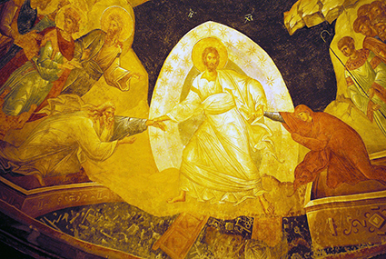 The Anastasis a fresco from St Savior, Chora, Constantinople - Istanbul