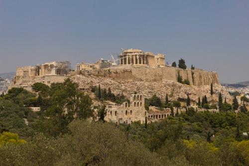 Вид с холма Филопаппос в Афинах (Аттика, Греция) — Афинский акрополь. The Acropolis from Filopapou Hill by
