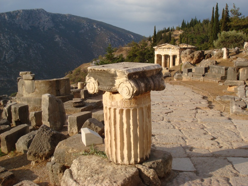 Athenian Treasury, Delphi. By Millevache (Own work) [CC-BY-SA-3.0 (http://creativecommons.org/licenses/by-sa/3.0) or GFDL (http://www.gnu.org/copyleft/fdl.html)], via Wikimedia Commons