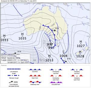 Mean sea level air pressure for Saturday July 12, 2015