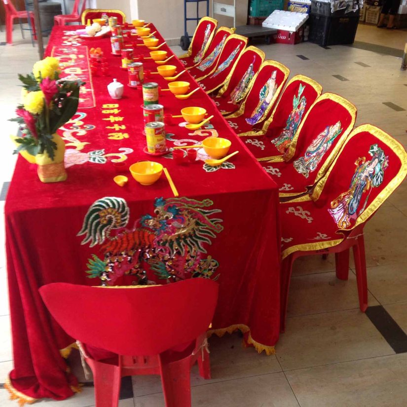 Banquet seats erected and decorated for the hungry ghosts and/or ancestor spirits